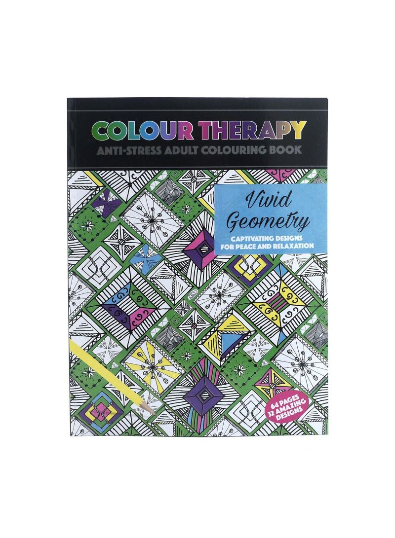 Adult Colouring Therapy Anti Stress 64 Page A4 Vivid Geometry Book
