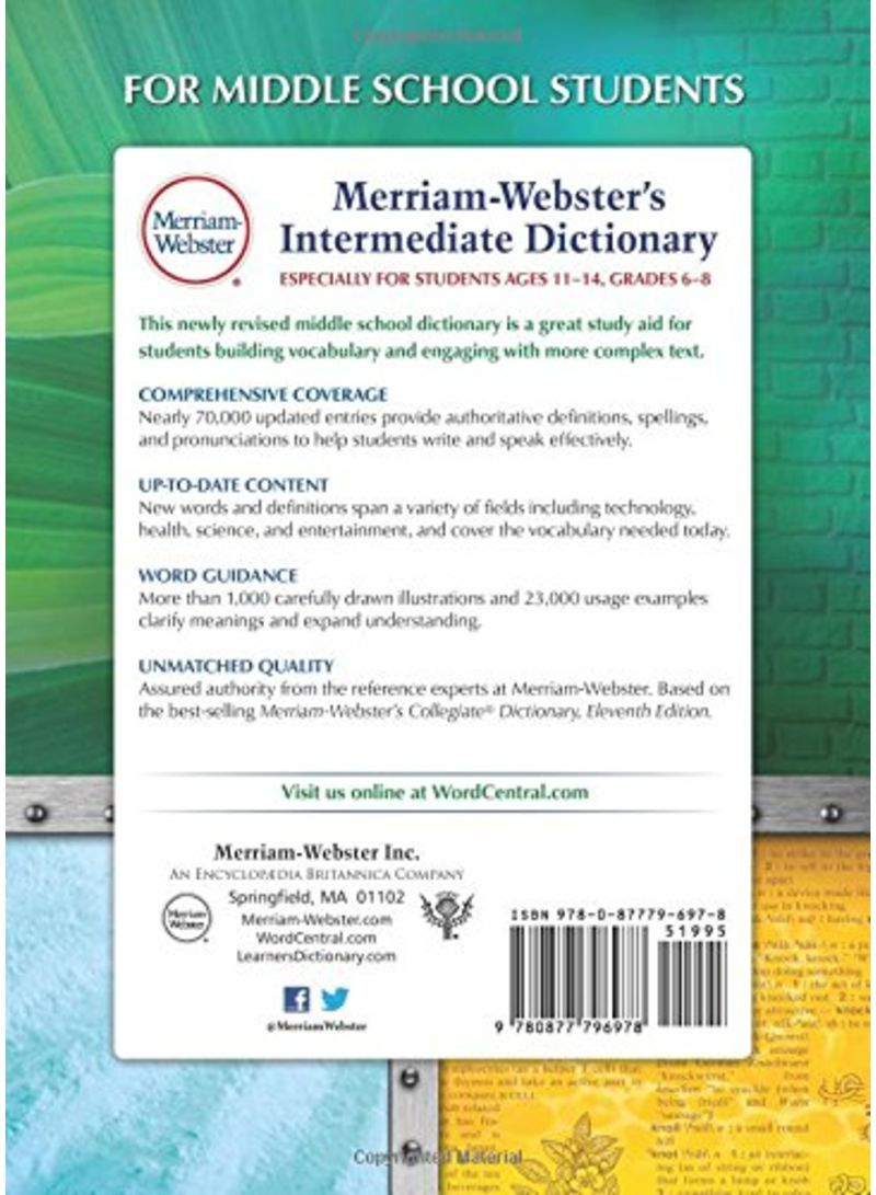 Merriam-Webster's Intermediate Dictionary Revised Updated Edition - غلاف  مقوى