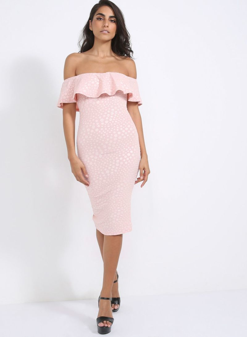 112391aa014c Off The Shoulder Frill Bodycon Midi Dress Pink Price in Saudi Arabia ...