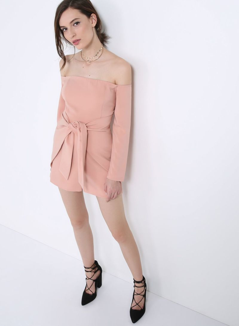 94719e3e748 Buy Bandeau Tie Front Playsuit Rose Nude in Saudi Arabia