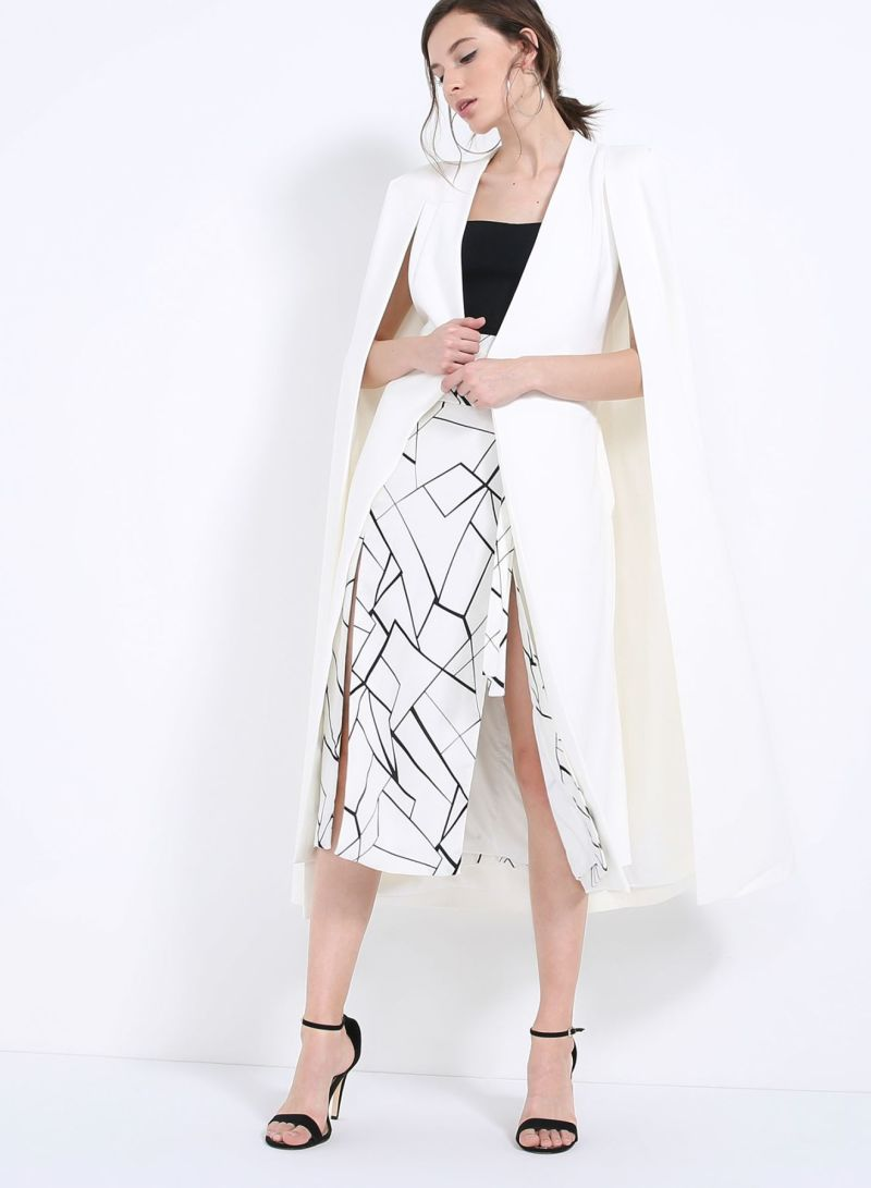 9b4668f3c73f Shop Lavish Alice Maxi Belted Cape Blazer Off White online in Dubai ...