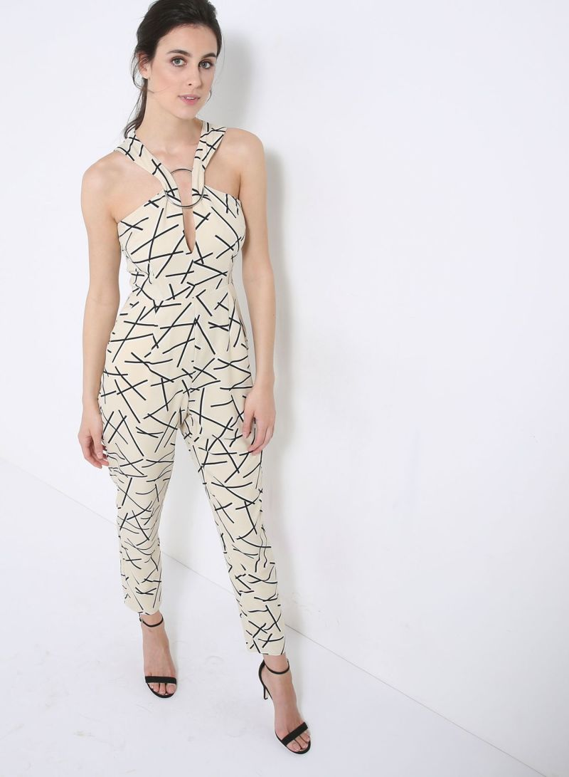 1989f167cdf7 Abstract Print Metal Ring Plunge Detail Jumpsuit Cream Black