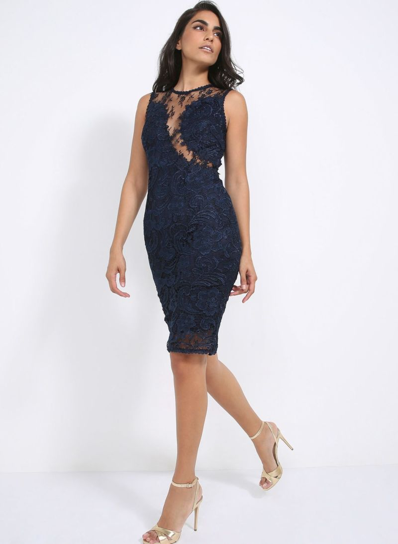 Shop AX Paris Lace Midi Dress Navy online in Dubai 2da3acff1
