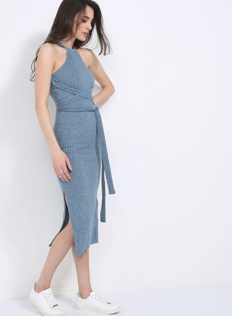 c578791bb7 Buy Dusty Rib Knit Cut Out Back Wrap Tie Detail Midi Dress Blue in Saudi  Arabia