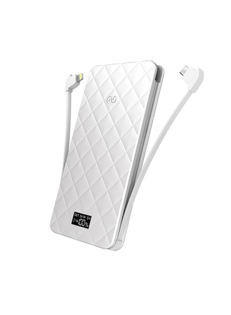 Ultra Slim Backup Battery Power Bank With Lcd Display 10000 Mah Powerbank Veger White