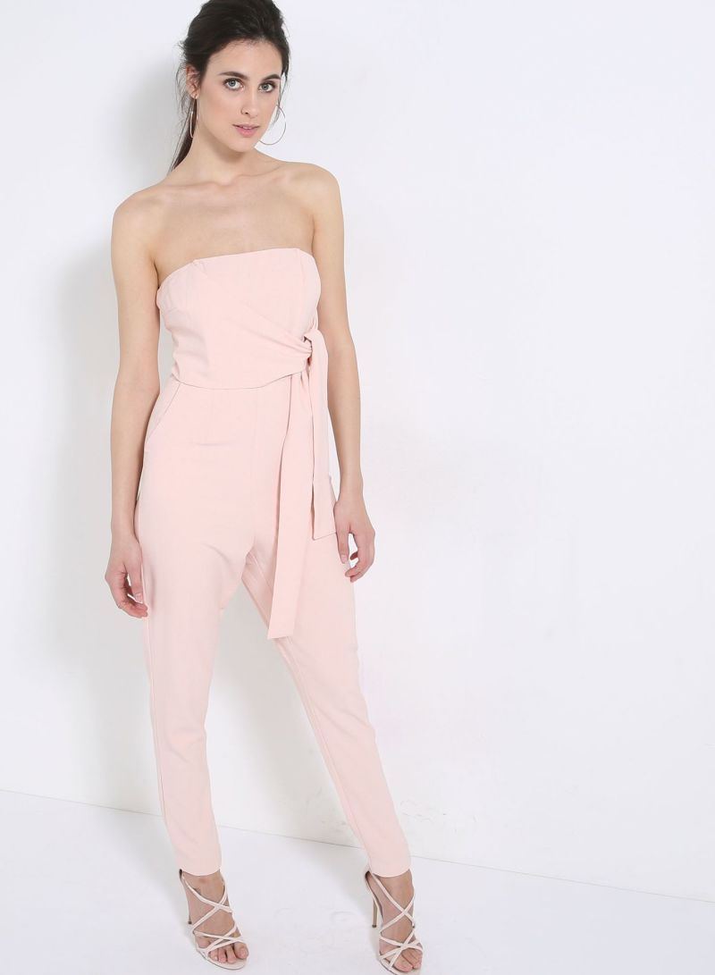 9f05562f6d5 Buy Bandeau Tie Detail Tapered Leg Jumpsuit Pink in Saudi Arabia