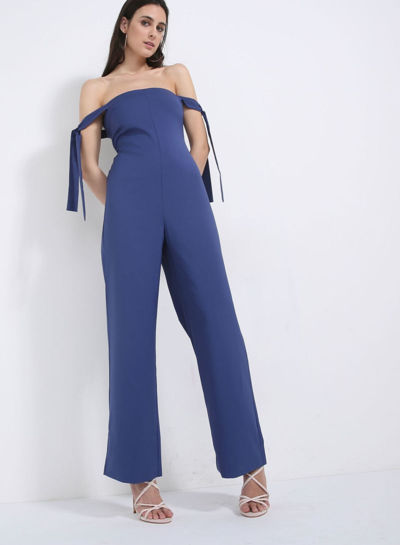 f42921c46e4 Buy Washed Tie Sleeve Bandeau Wide Leg Jumpsuit Blue in Saudi Arabia