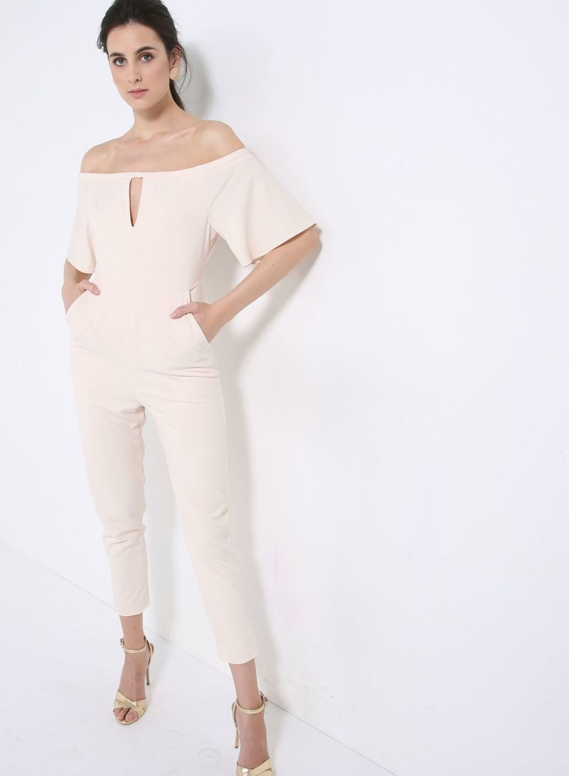 8a423561662 Buy Sand Bardot Cut Out Detail Tapered Leg Jumpsuit Cream in Saudi Arabia
