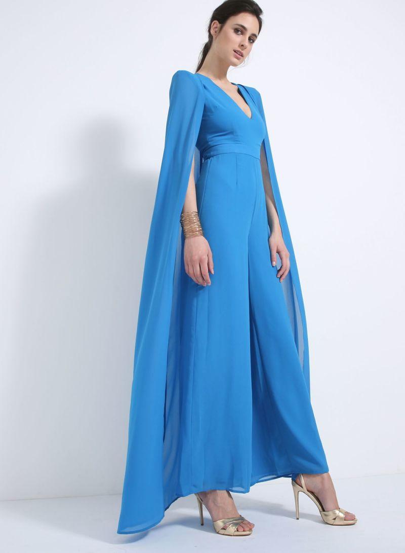 Cereulean Chiffon Cape Wide Leg Jumpsuit Blue Price In Saudi