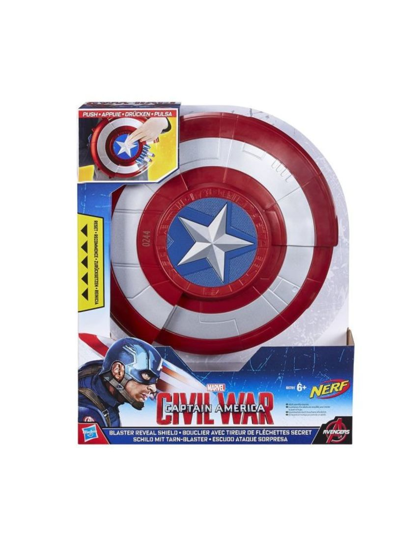 Marvel Captain America Shield Push Star Button Reveal Blaster 2 NERF Darts Boys