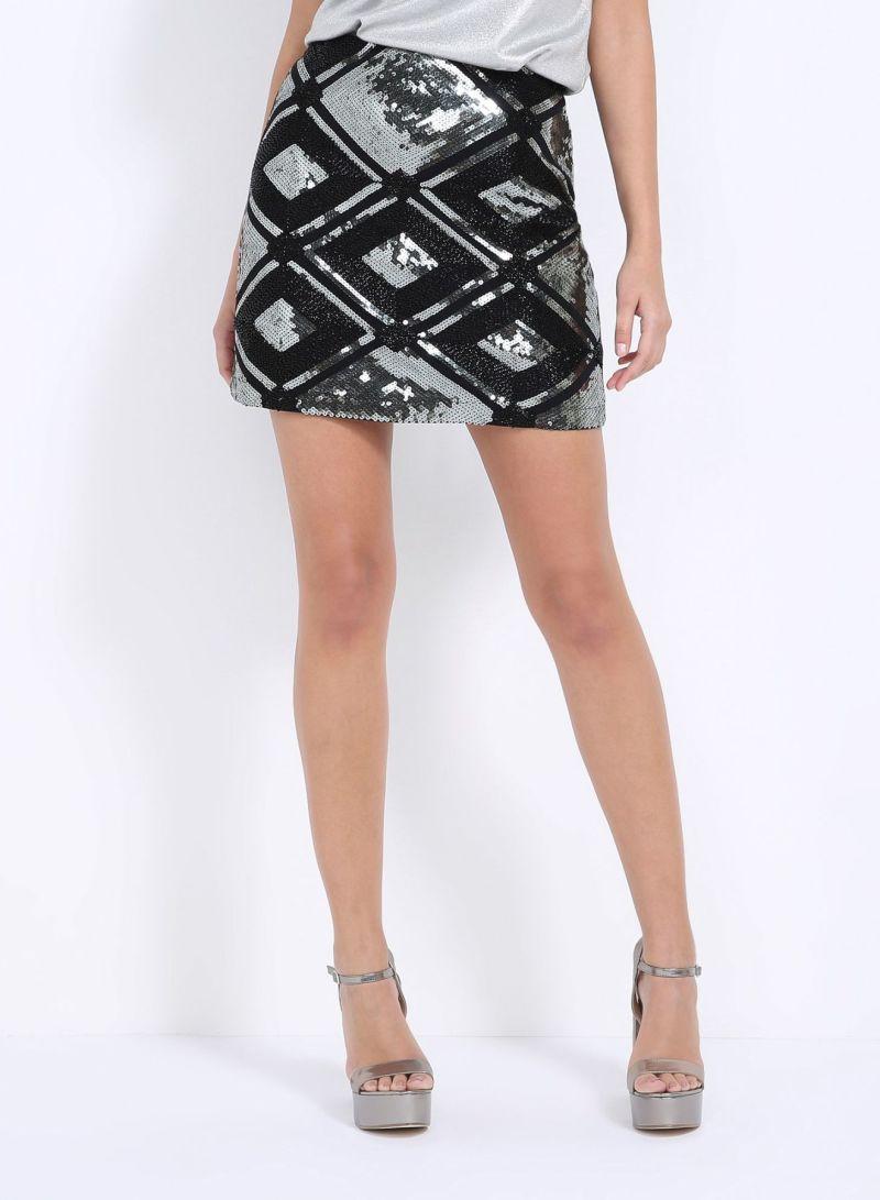 f08a8e737 Short Skirt With Sequins Black   Skirts   kanbkam.com