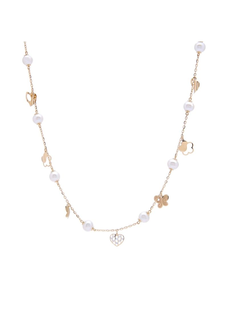 Shop damas Kiku 18K Gold Mini Pearl Charm Necklace online in
