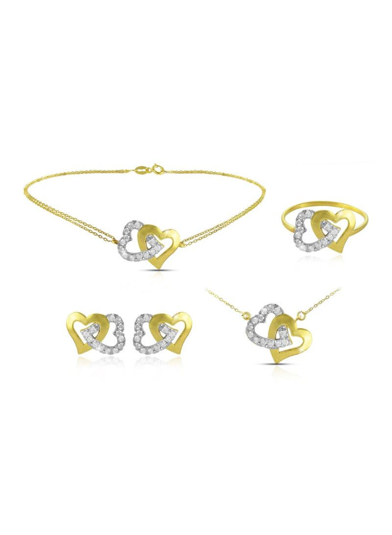 18k Solid Gold And 0 11cts Diamonds Interlocking Hearts