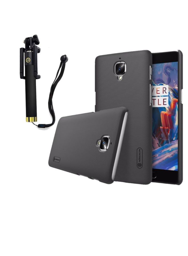 new arrival d8ec6 1607f Nillkin Frosted Hard Case Cover With Screen Protector And Selfie Stick  Bundle For OnePlus 3 3T Black