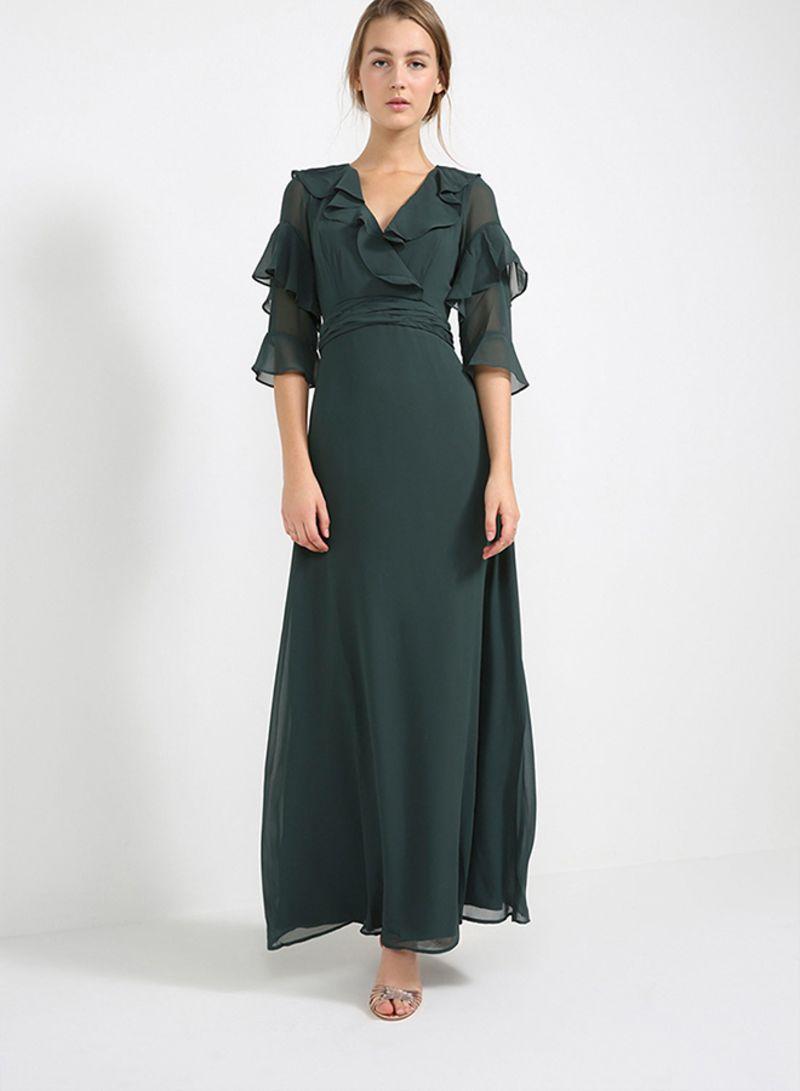 faf51247a488c سعر فستان بأكمام مكشكشة أخضر فى السعودية
