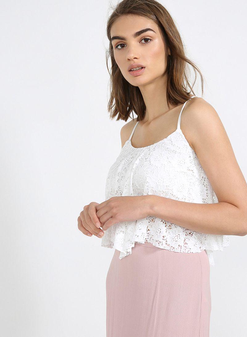 b5b4ef1f7cd06c Lace Hanky Hem Crop Top White Price in Saudi Arabia