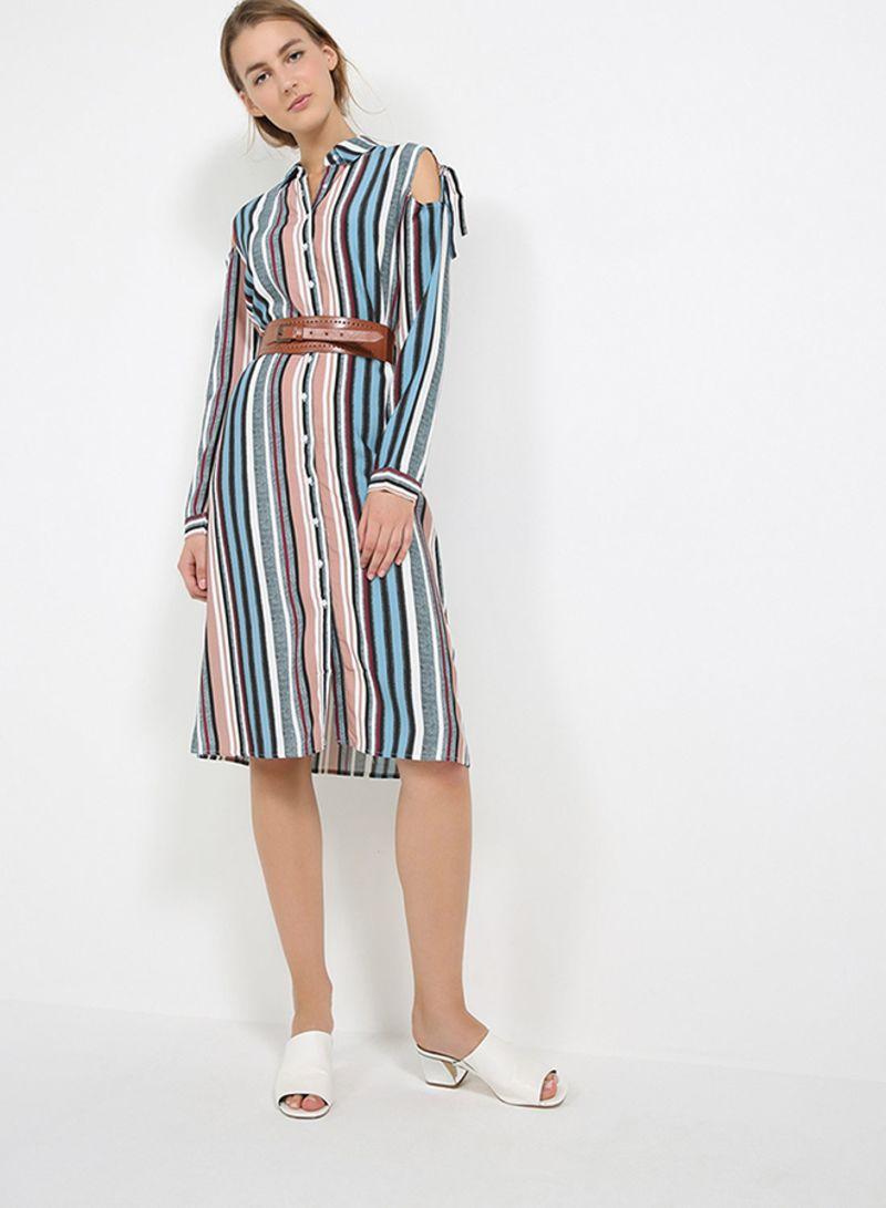 62025d045091 Shop KOTON Striped Cut Out Shoulder Shirt Dress Blue/Pink/Brown ...