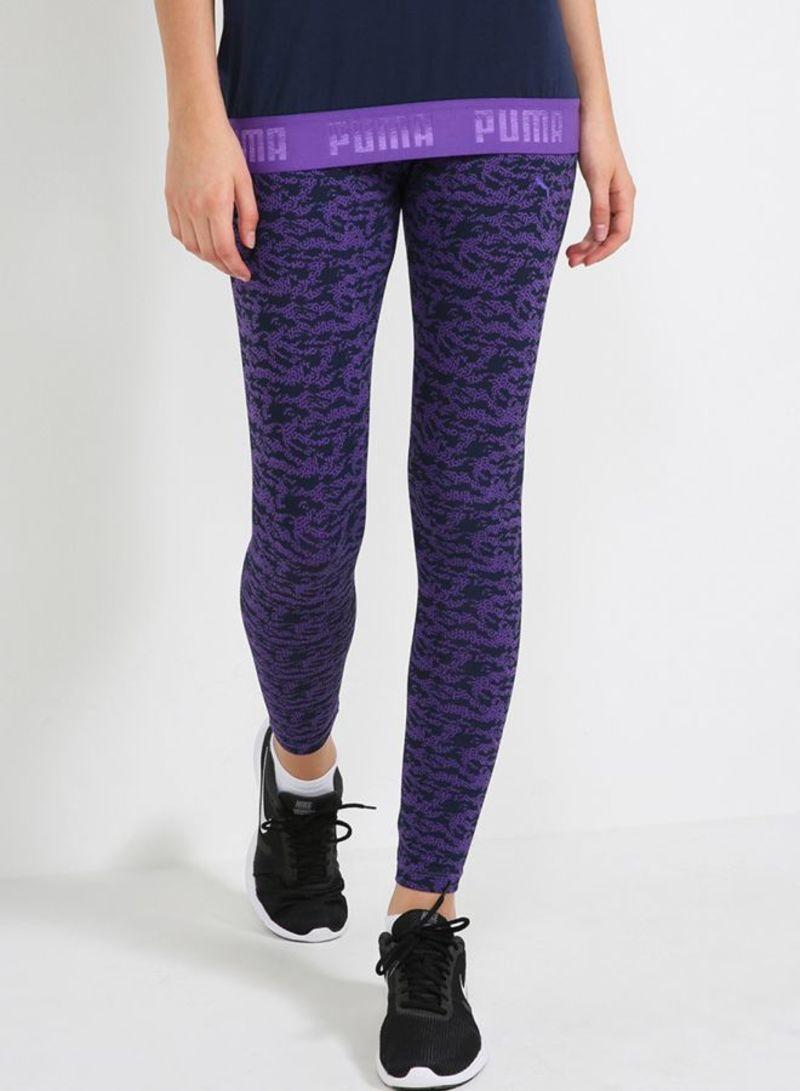 8dc7b51ab3e82c Shop Puma Summer All Over Print Leggings Royal Purple online in ...
