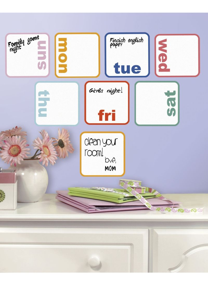 Days Of The Week Planner Dry Erase Wall Decals Multicolour