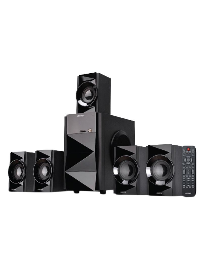 Shop Geepas 5 1-Channel Multimedia Speaker System With USB - SD Card Slots  And FM Radio - Bluetooth GMS8527 Black online in Dubai, Abu Dhabi and all