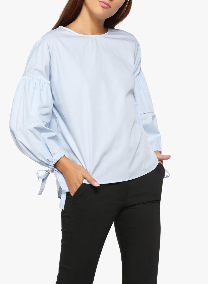 ca9de914fababa Shop Mango Puffed Sleeves Blouse Blue online in Dubai, Abu Dhabi and ...