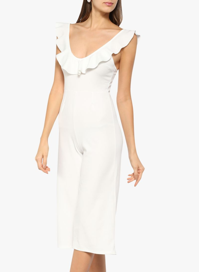 c5be40e4309 Buy Frill Detail Jumpsuit White in Saudi Arabia