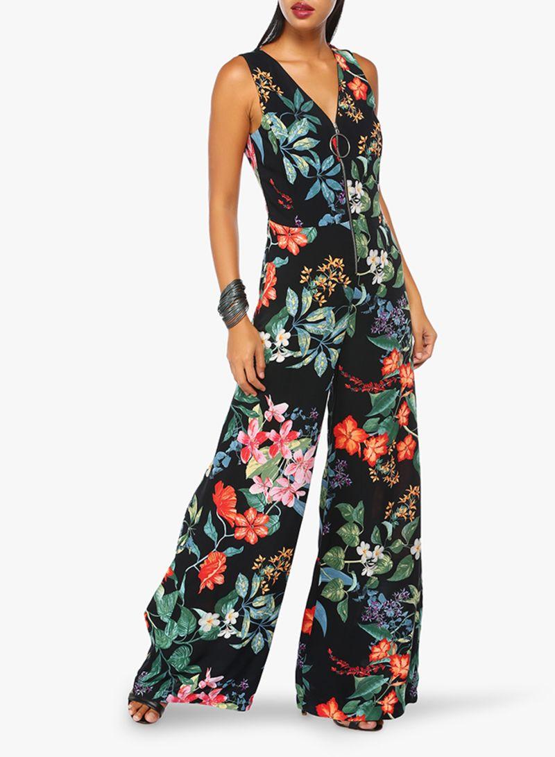 eb417615987 Floral Print Jumpsuit Black Price in UAE