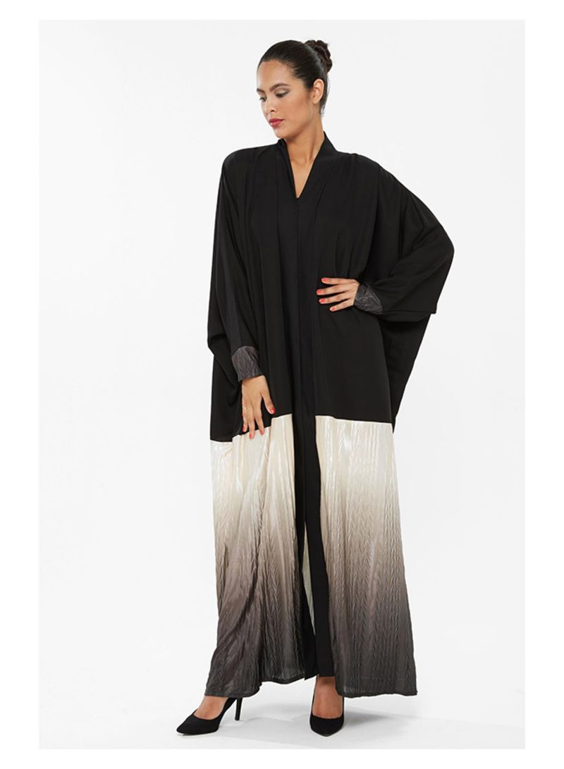 269c3f3274834 Self Pattern Abaya With Dual Colored Shimmering أسود رمادي