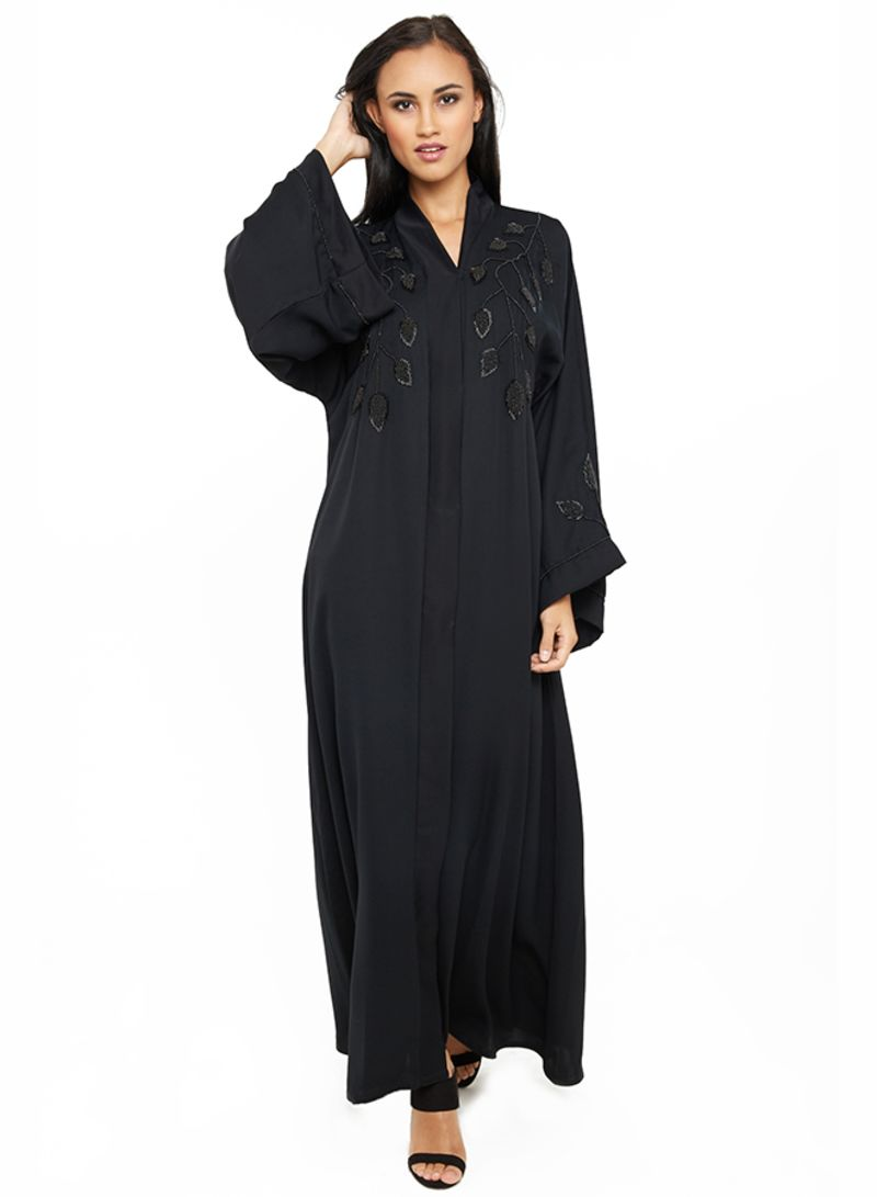 تسوق نخبة وعباية فاخرة مطرزة بالترتر والخرز على شكل ورق شجر Black أونلاين في السعودية