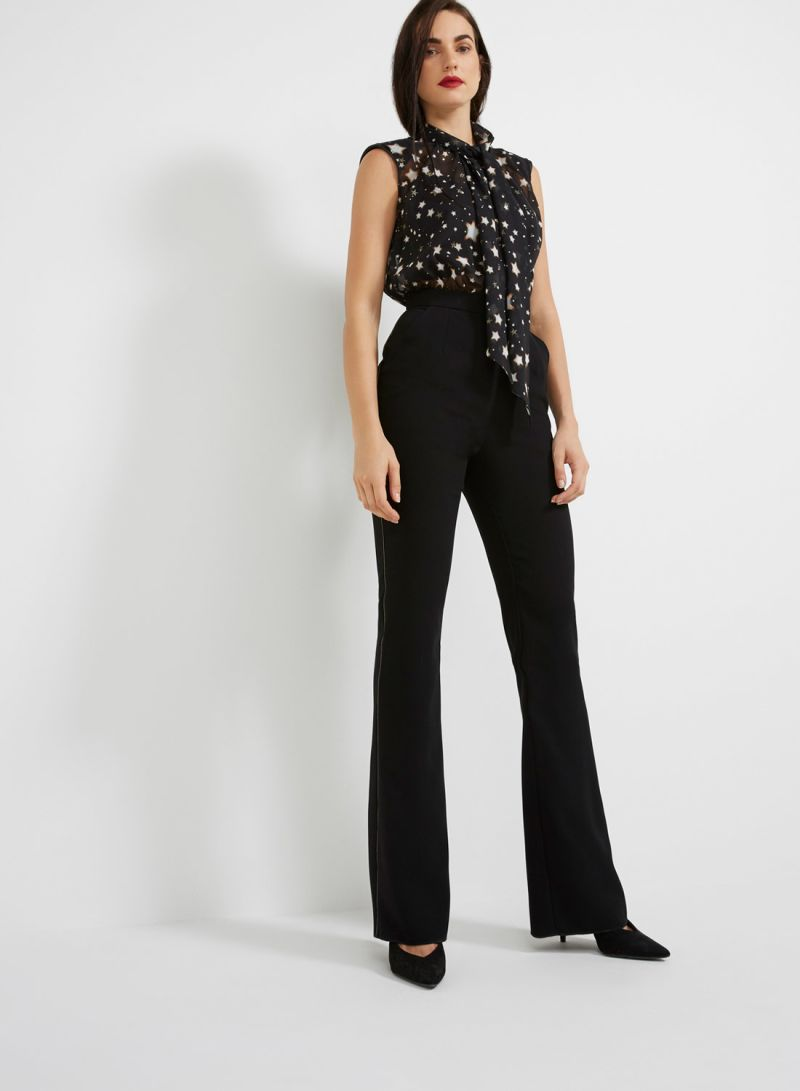 613ef4d13a8 Shop Elisabetta Franchi Star Print Sleeveless Jumpsuit Black online ...