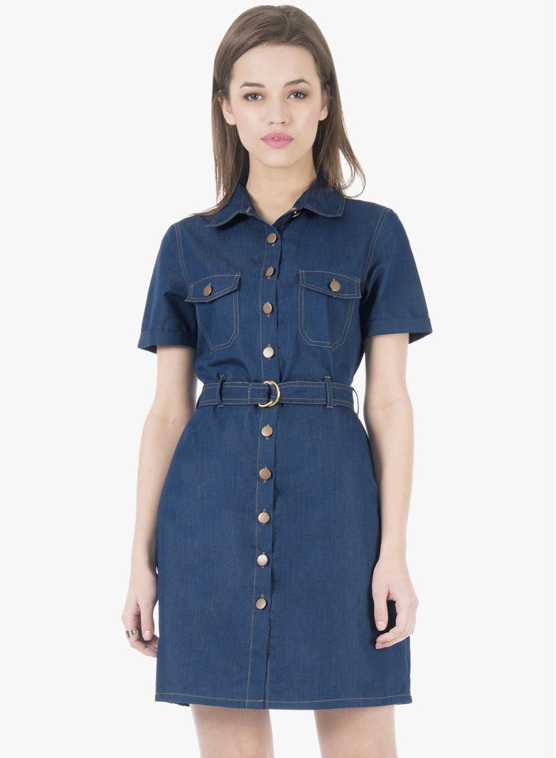Shop Faballey Belted Denim Shirt Dress Blue Online In Riyadh Jeddah
