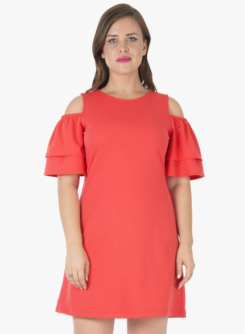 56ef2cb7997 Shop FabAlley Curve Ruffled Cold Shoulder Shift Dress Coral online in  Dubai, Abu Dhabi and all UAE