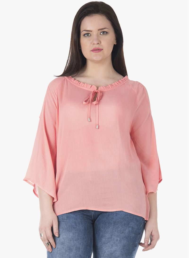 43e16310381f54 Shop FabAlley Curve Pleated Neck Cold Shoulder Top Pink online in ...