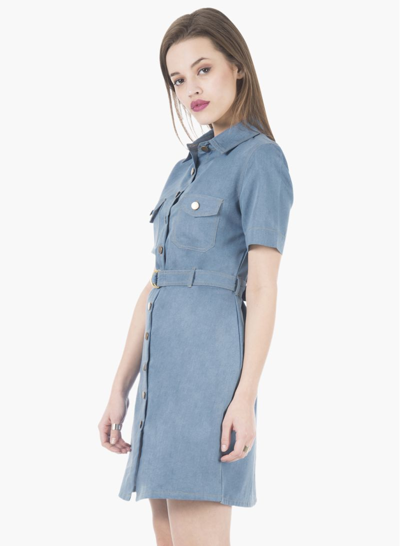 cd7643fb51 Shop FabAlley Light Wash Belted Denim Shirt Dress Blue online in ...