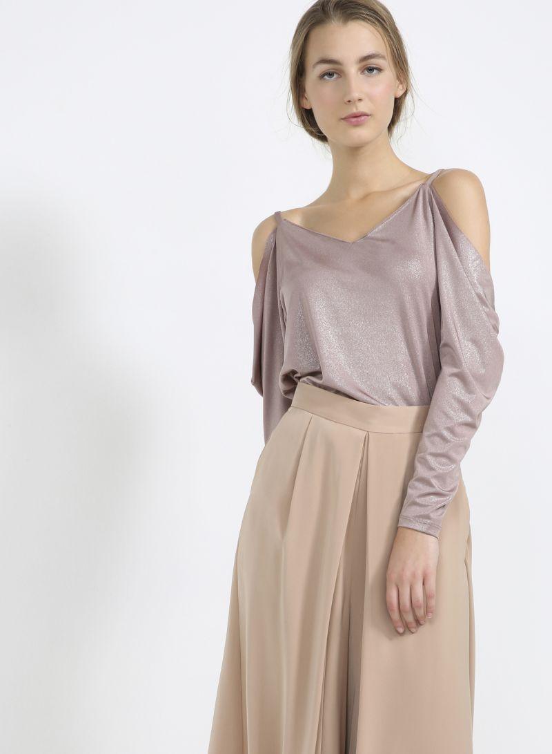 bd73a16985472 Buy Sparkle Cut Out Shoulder Top Pink in Saudi Arabia