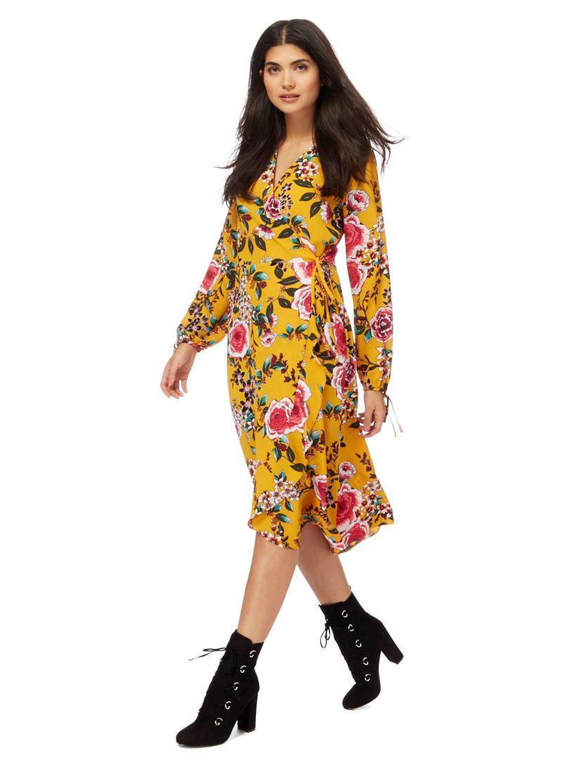 e799db5c0b6 Buy Red Herring Floral Printed V-Neck Wrap Dress Mustard in Saudi Arabia