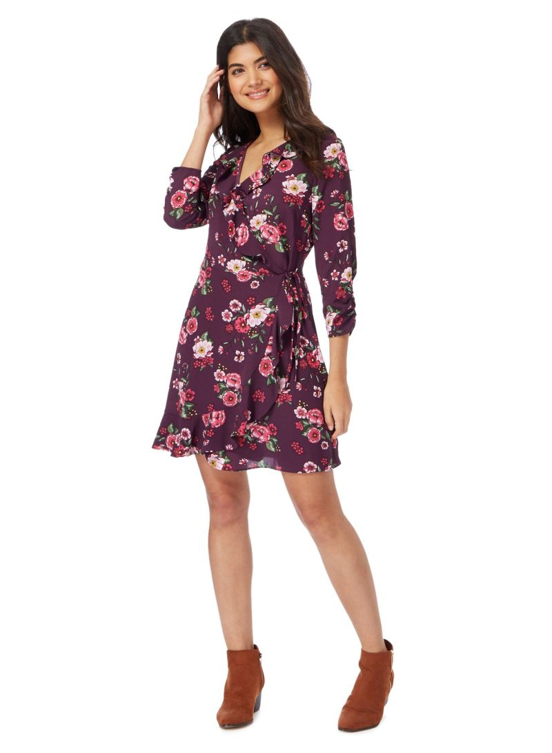 927a0f6a285 Buy Red Herring Floral Printed V-Neck Wrap Dress Purple in Saudi Arabia