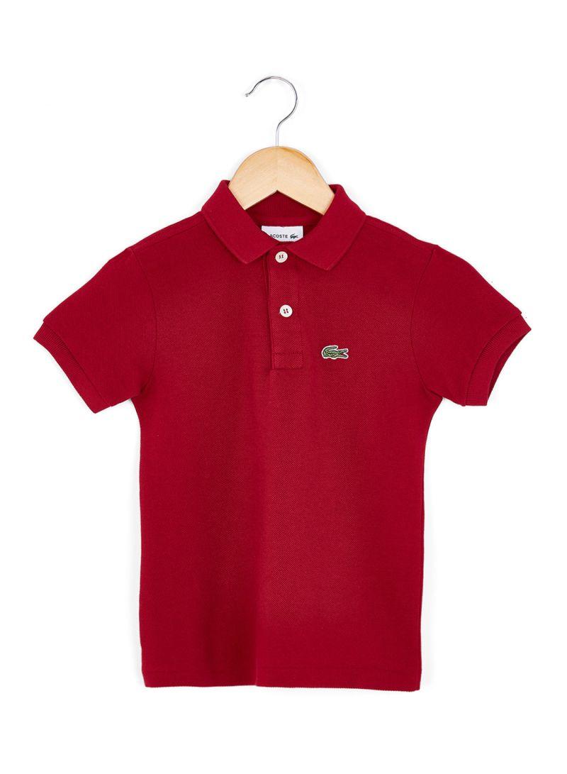 1f5c6eb0e6536 تسوق لاكوست وتيشيرت بولو بأكمام قصيرة وياقة مضلعة للأطفال أحمر ...