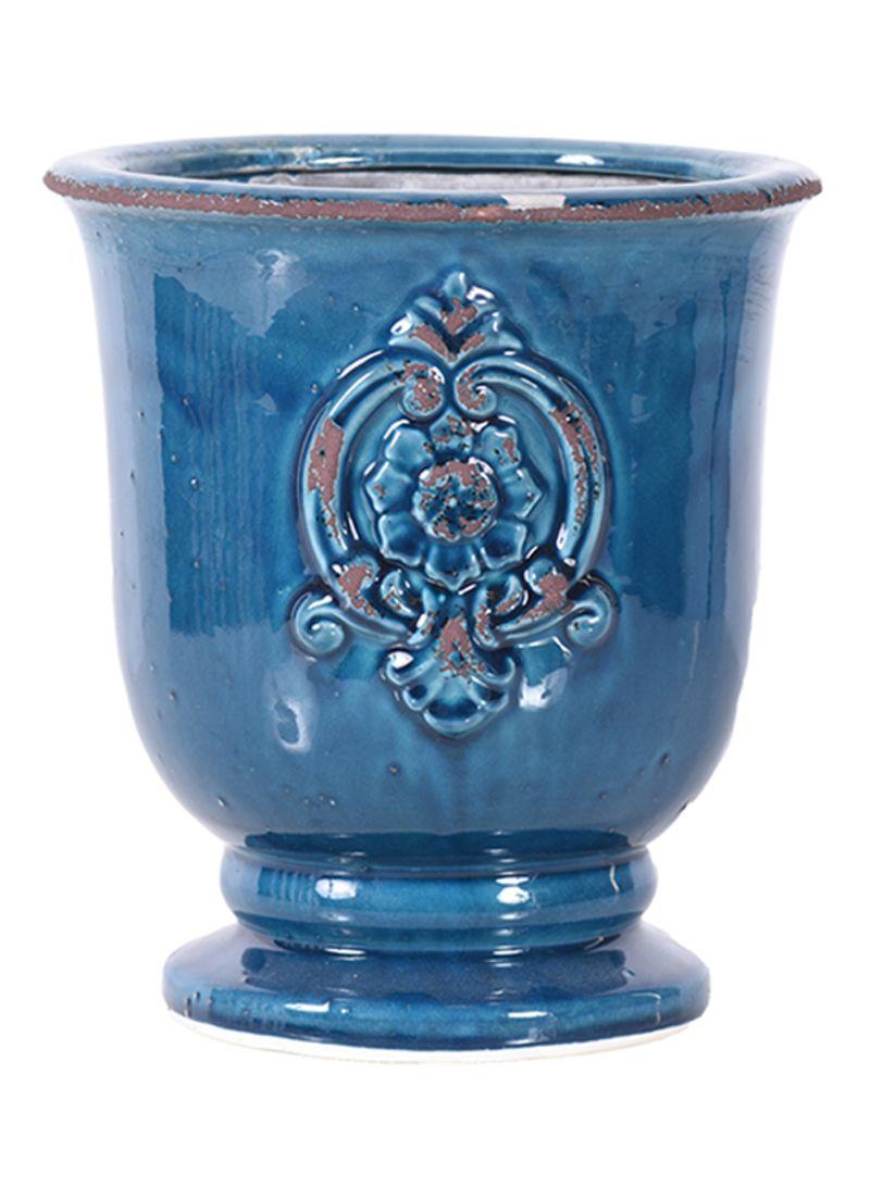 Little Green House Round Ceramic Pot