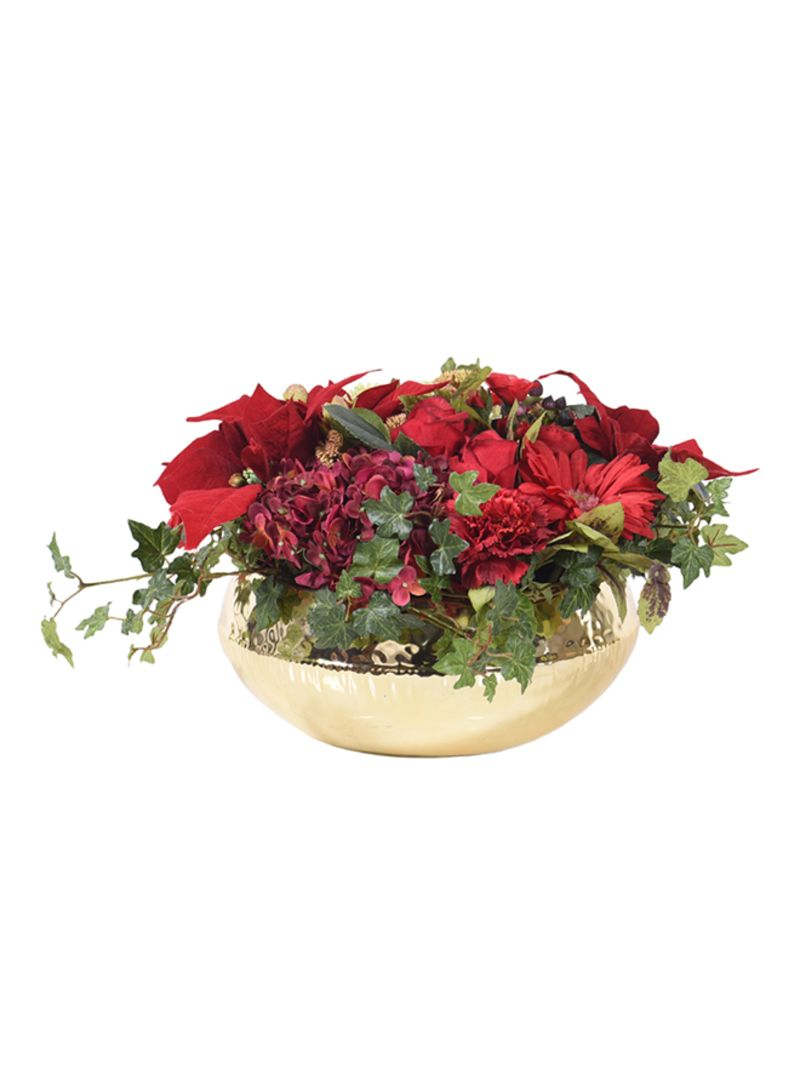 Christmas Flower Arrangements Artificial.Shop The Little Green House Artificial Red Christmas Flower Arrangement Red 28 Centimeter Online In Dubai Abu Dhabi And All Uae