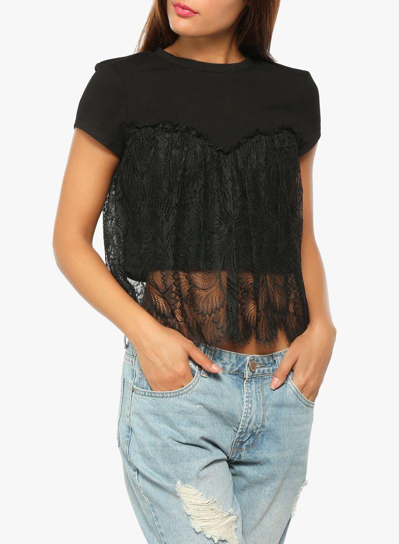 ae4c734e397 Shop LOST INK Lace Layered Crop Top Black online in Riyadh, Jeddah ...