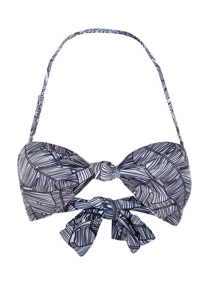 6944fe05b90b Shop Lavish Alice Palm Print Tie Front Bandeau Bikini Top Monochrome ...