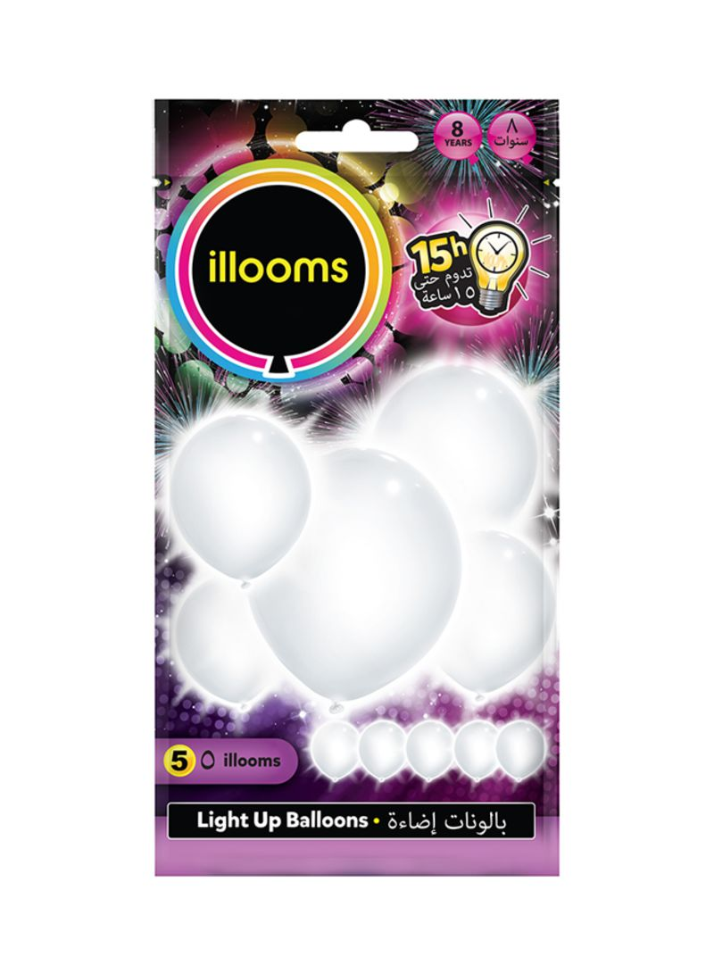 Shop illooms Pack Of 5 White LED Balloons online in Dubai, Abu Dhabi