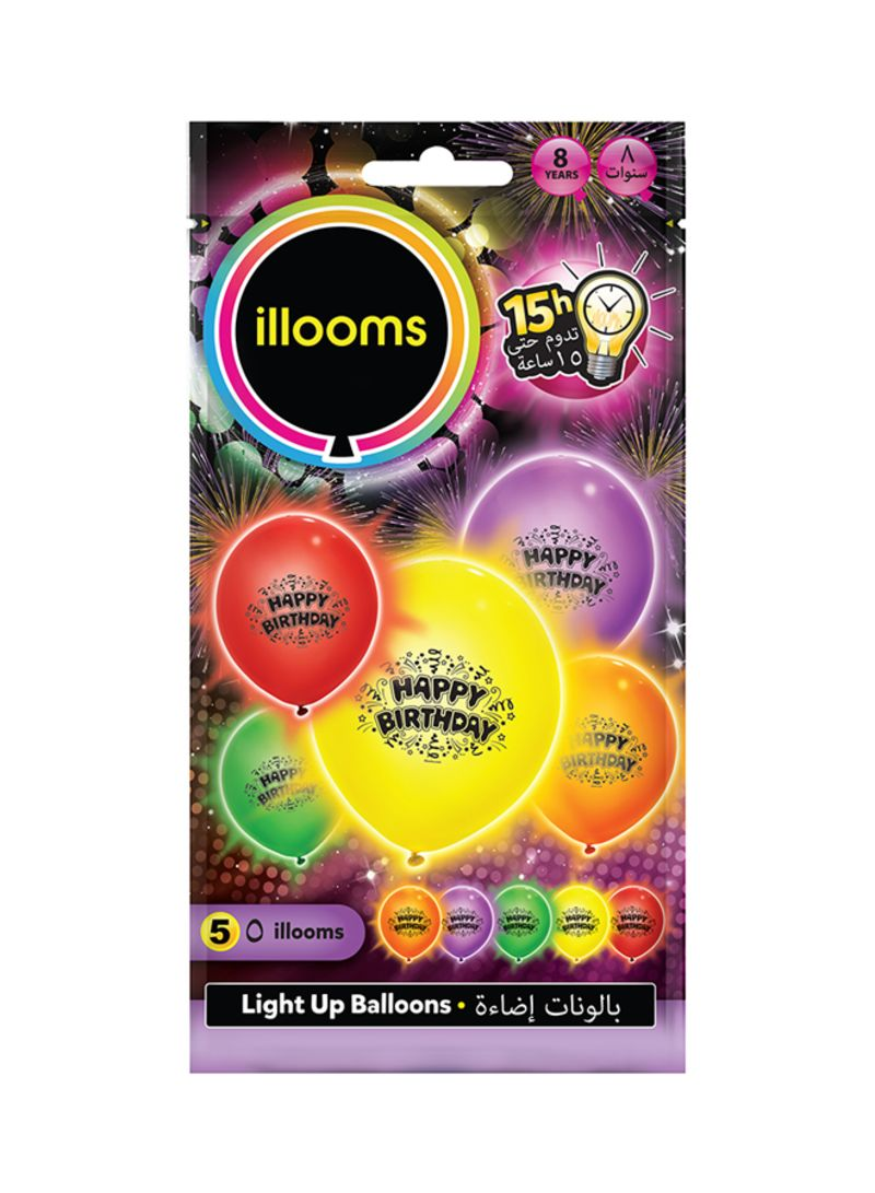 Pack Of 5 Happy Birthday LED Balloons
