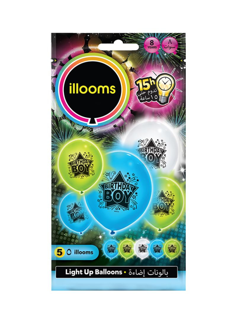Shop Illooms Pack Of 5 Birthday Boy LED Balloons Online In Dubai