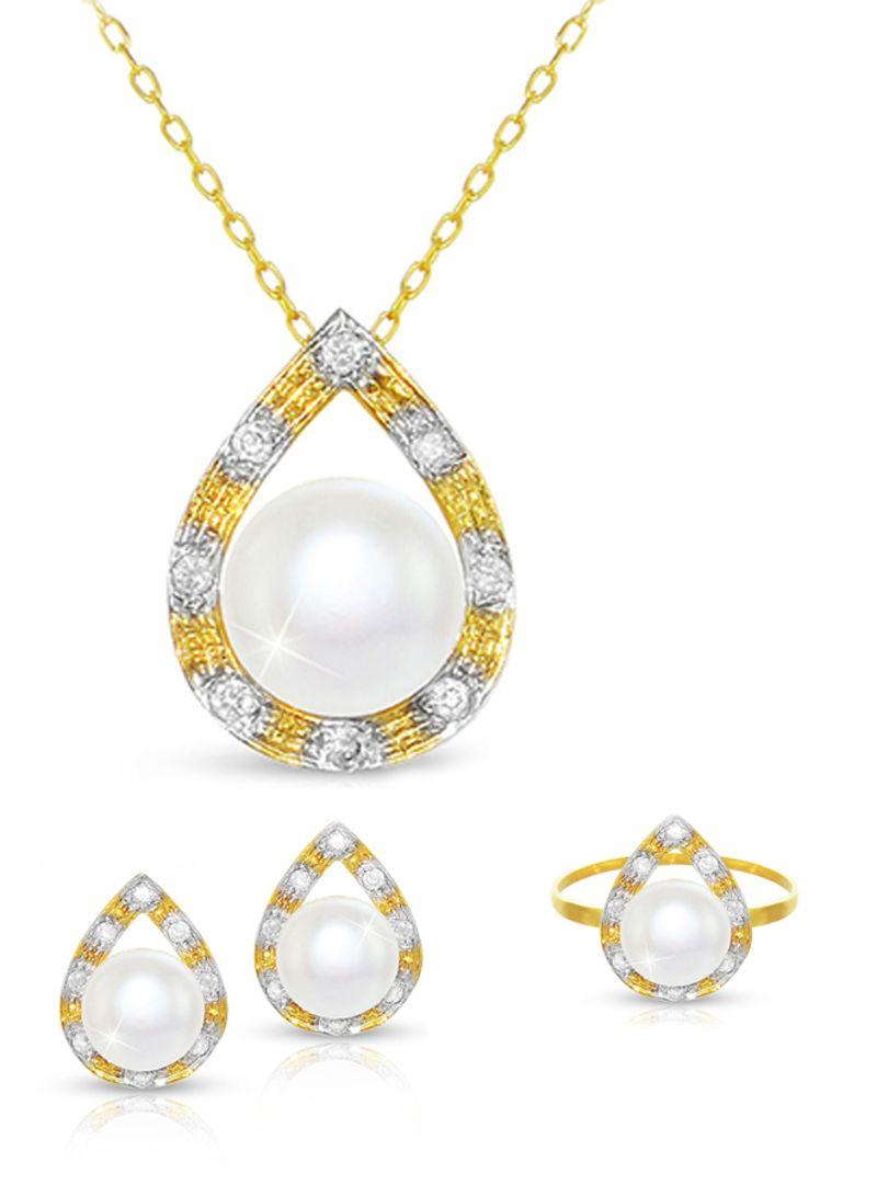 18k Gold Pearl Drop Jewelry Set White Gold Price In Saudi Arabia Noon Saudi Arabia Kanbkam