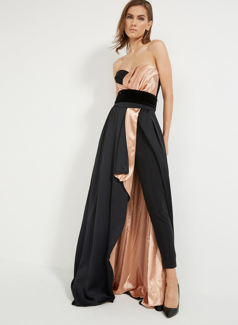 742b0adbcc3e Buy Jumpsuit With Maxi Skirt And Belt Black Old Pink in Saudi Arabia