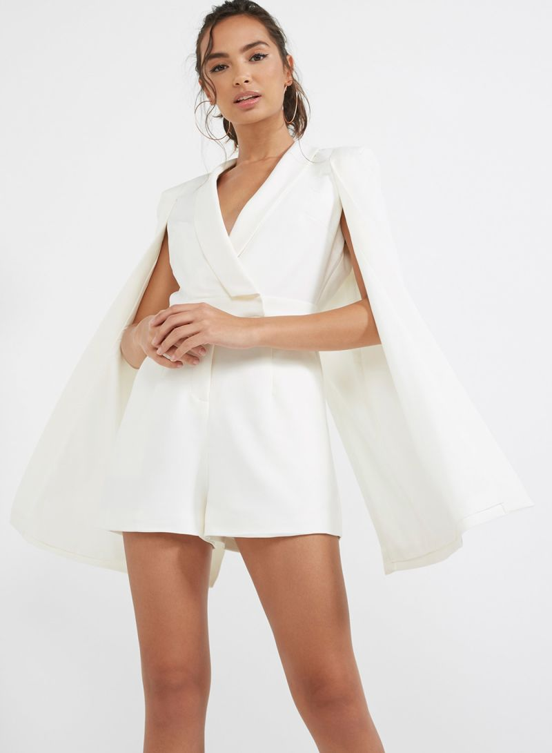 cfdd9ab20eec Shop Lavish Alice Cape Tailored Playsuit White online in Riyadh ...