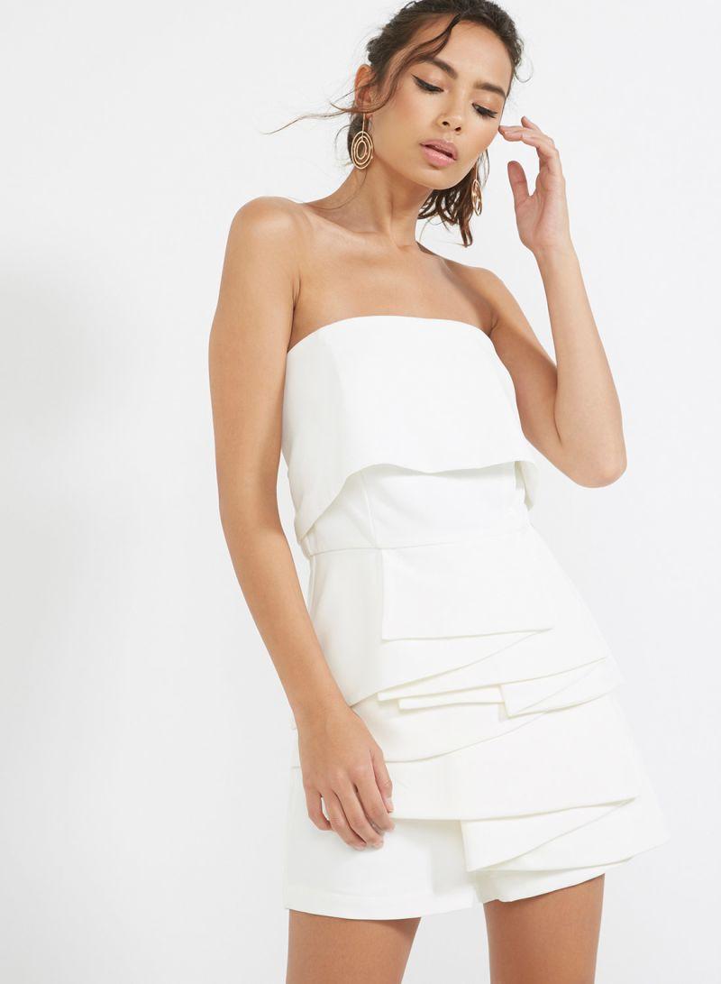 207d78d35872 Shop Lavish Alice Strapless Frill Top White online in Riyadh