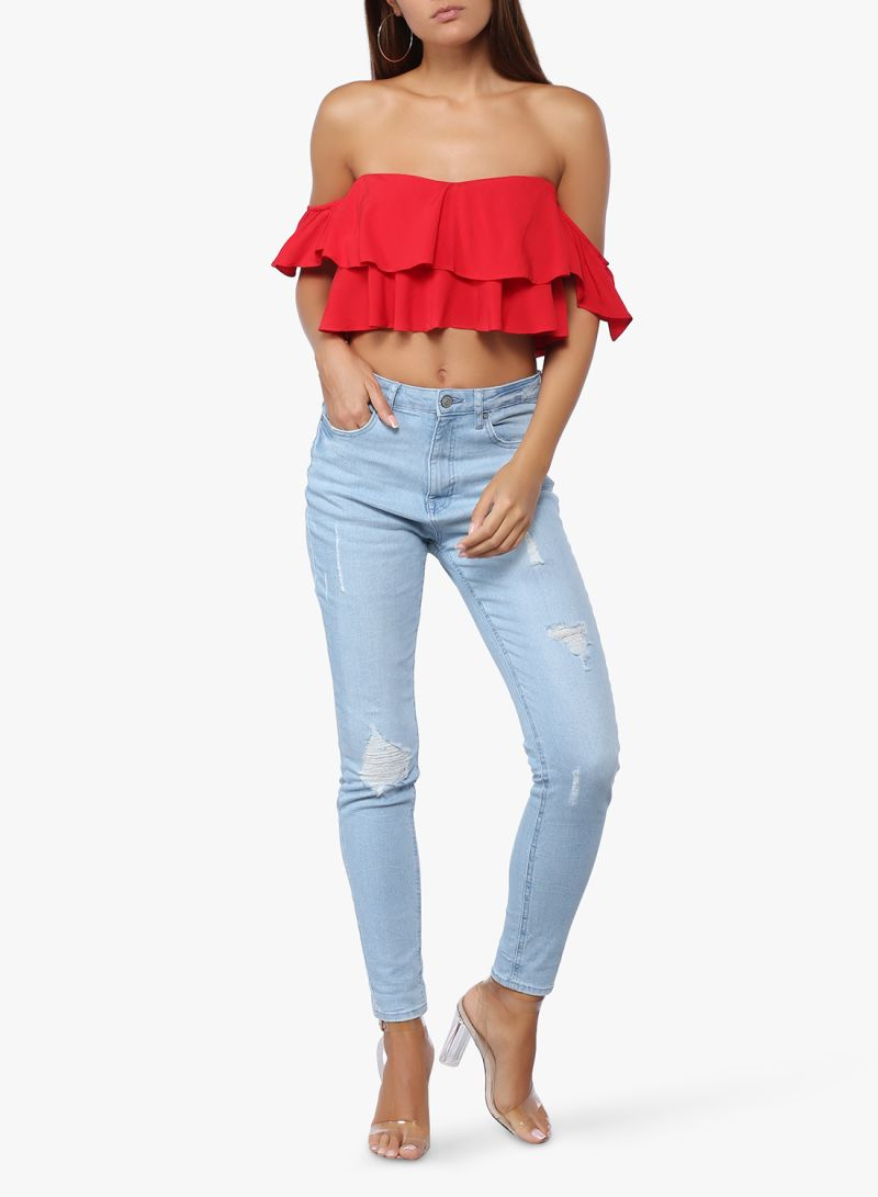 3f42b973368 Flounce Off-Shoulder Crop Top Red Price in Saudi Arabia | Noon ...